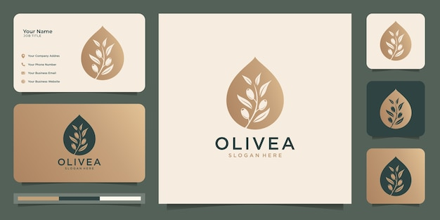 Olive tree and oil logo design template and business cards. Premium Vector