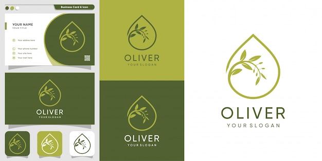 オリバーのロゴと名刺のデザインテンプレート、ドロップ、ブランド、オイル、美容、化粧品、アイコン、健康、 Premiumベクター