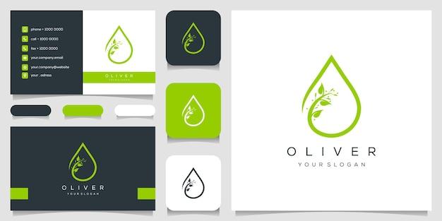 Оливер логотип и шаблон дизайна визитной карточки Premium векторы