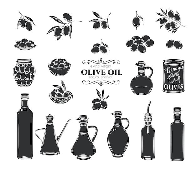 オリーブとオリーブオイルのグリフアイコンを設定します。孤立した木の枝、ガラス瓶、水差し、オイル付きの金属ディスペンサー。レトロなスタイル、イラスト。 Premiumベクター