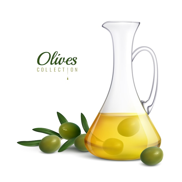 Olives collection realistic composition with glass jug of olive oil and tree sprig with green fresh olives Free Vector
