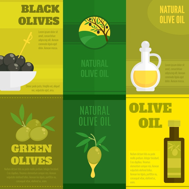 Olives illustration with text template set Free Vector