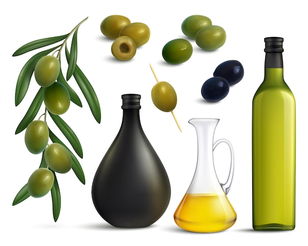 Olives and oil realistic set Free Vector