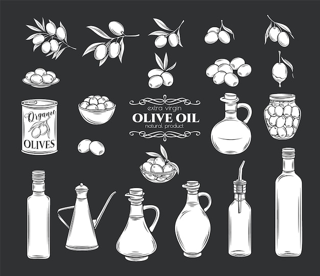 Olives and olive oil glyph icons set. isolated tree branches, glass bottle, jug , metal dispenser with oil. retro style, illustration. Premium Vector