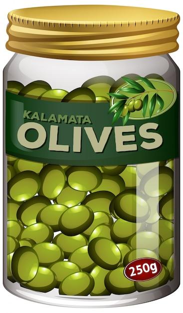 オリーブはガラスの瓶に保存します 無料ベクター
