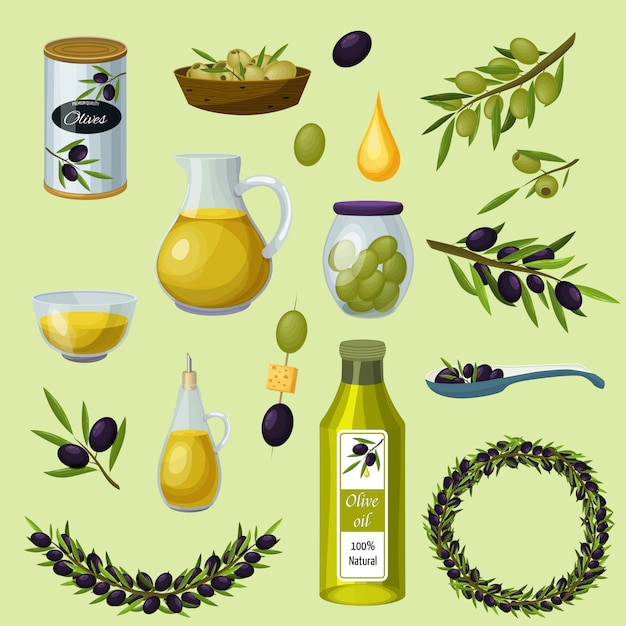 Olives products cartoon icons set Free Vector