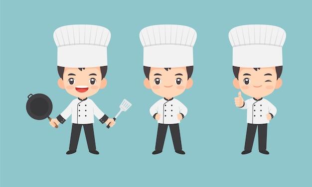 Ollection of kawaii chef character Premium Vector