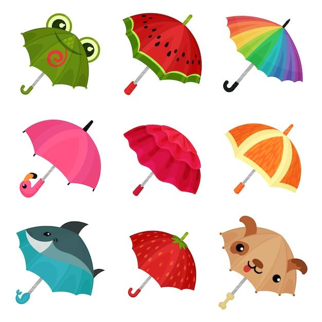 Ollection милые красочные зонтики иллюстрация на белом фоне Premium векторы