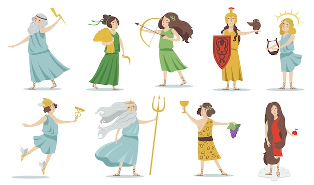 Olympian gods and goddesses. poseidon, venus, hermes, athena, cupid, zeus, apollo, dionysus. for greek mythology, ancient greece culture . isolated vector illustrations set. Free Vector
