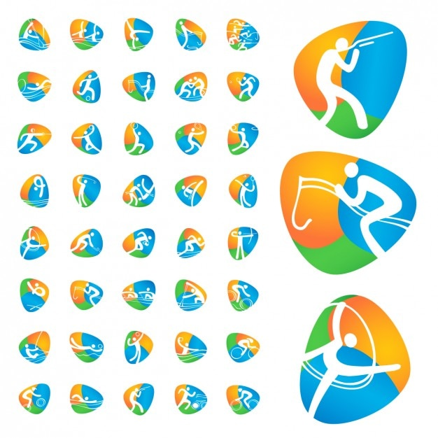 Olympic games icons collection Free Vector