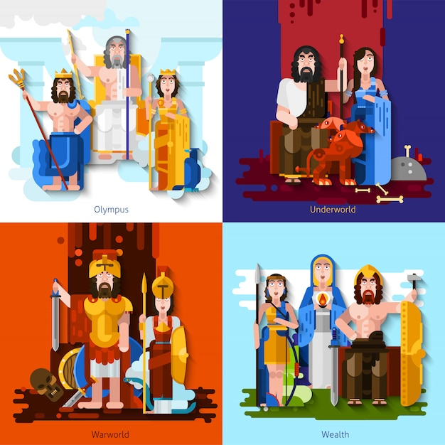 Олимпийские боги мультфильм концепция Бесплатные векторы
