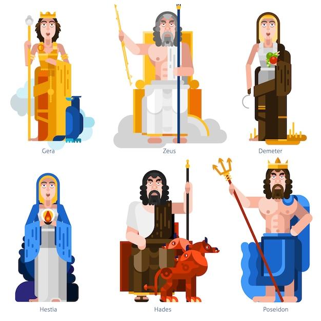 Olympic gods decorative icons set Free Vector