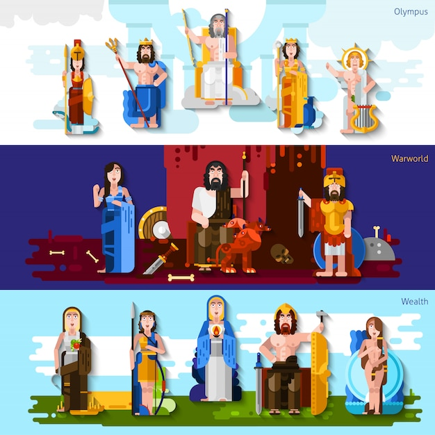 Olympic gods horizontal banners Free Vector
