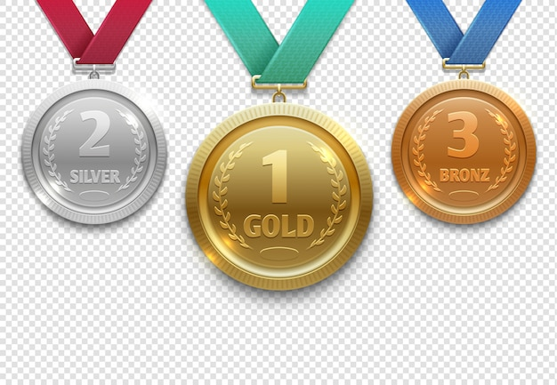 Olympic gold, silver and bronze award medals, winner honor prize set Premium Vector