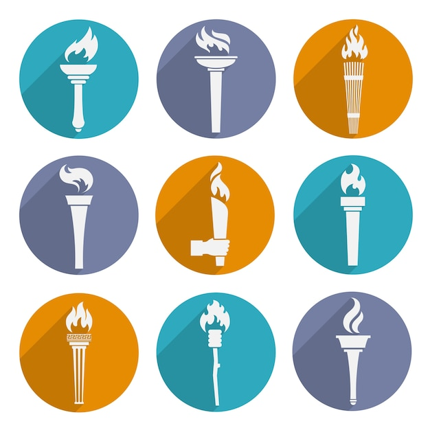 Olympic torch icons Free Vector