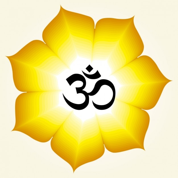 Om Symbol On A Yellow Flower Vector Free Download