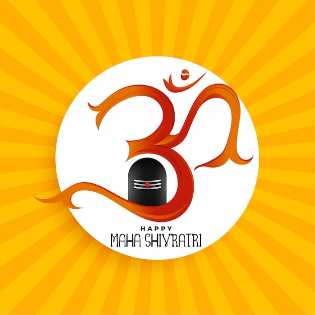 Om symbol with shivling idol background Free Vector