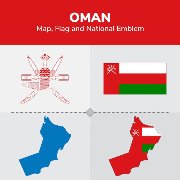 Oman Map Flag And National Emblem Vector Premium Download - Oman map download