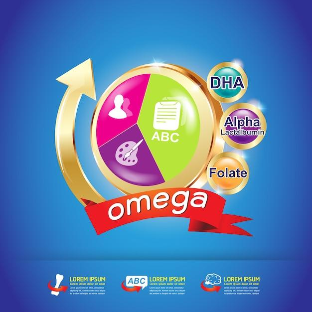 Омега 3 и витамины логотип концепция вектор для продуктов. Premium векторы