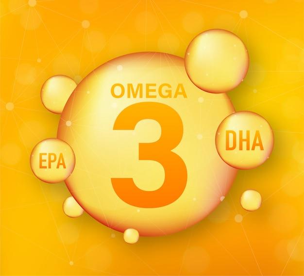 Омега жирная кислота, epa, dha. омега три, натуральная рыба, растительное масло. иллюстрация запаса. Premium векторы