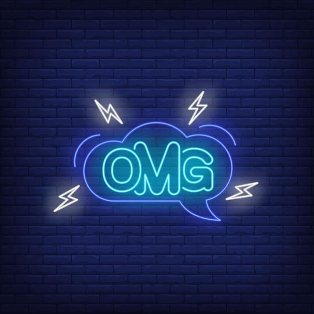 Omg neon lettering in speech bubble. Free Vector