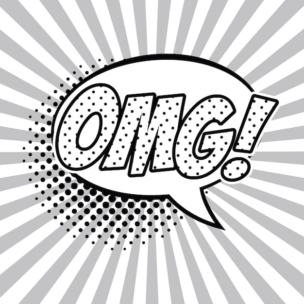 omg pop art black and white vector illustration graphic design