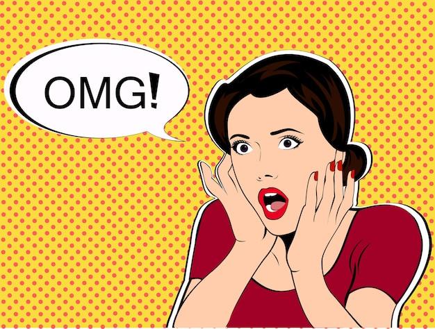 Omg衝撃の女性 | プレミアムベクター