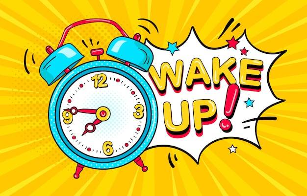 Сomic alarm clock ringing and expression speech bubble with wake up text Premium Vector