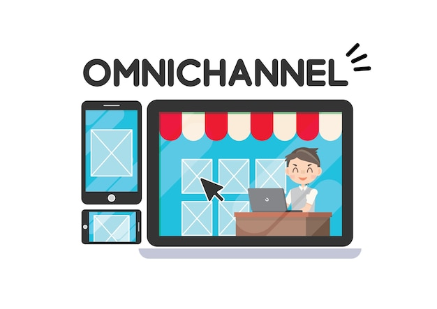 Omni channel marketing strategy shopping online Premium Vector