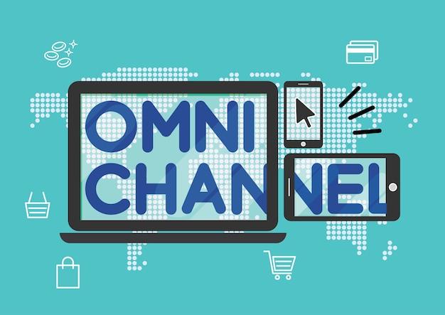 オムニチャンネルマーケティング戦略オンラインショッピング Premiumベクター