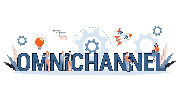 Omnichannel concept. many communication channels with customer. online and offline retail helps to grow your business.   illustration Premium Vector