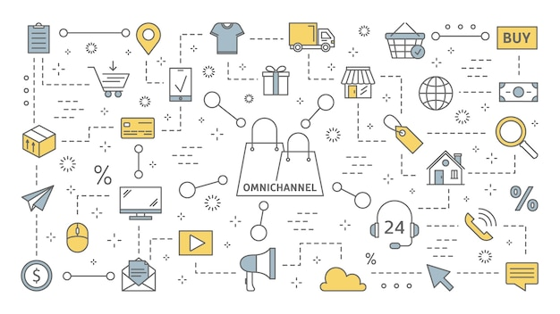Omnichannel concept. many communication channels with customer. online and offline retail helps to grow your business. set of line icons.    illustration Premium Vector
