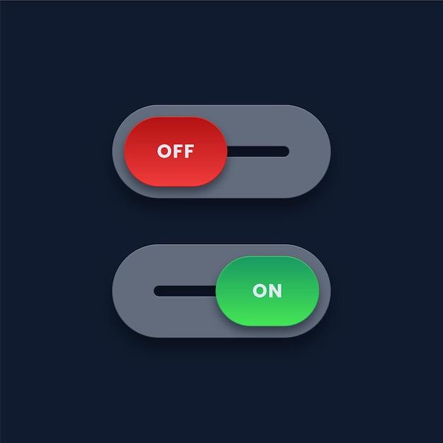 オンとオフのボタン Premiumベクター