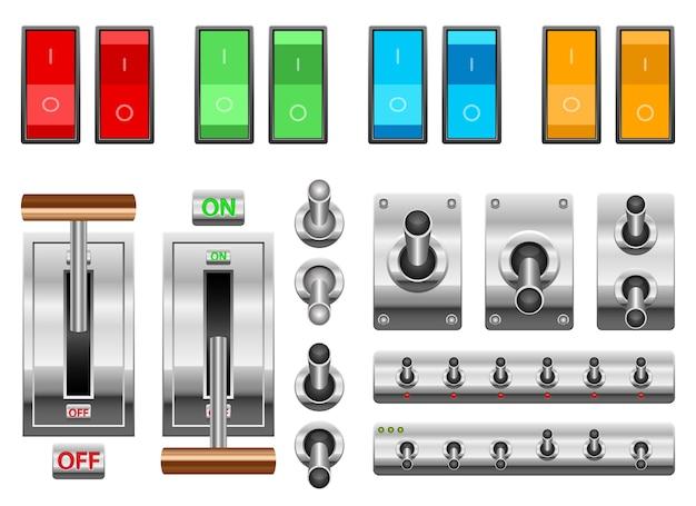オンとオフのスイッチは白い背景で隔離 Premiumベクター