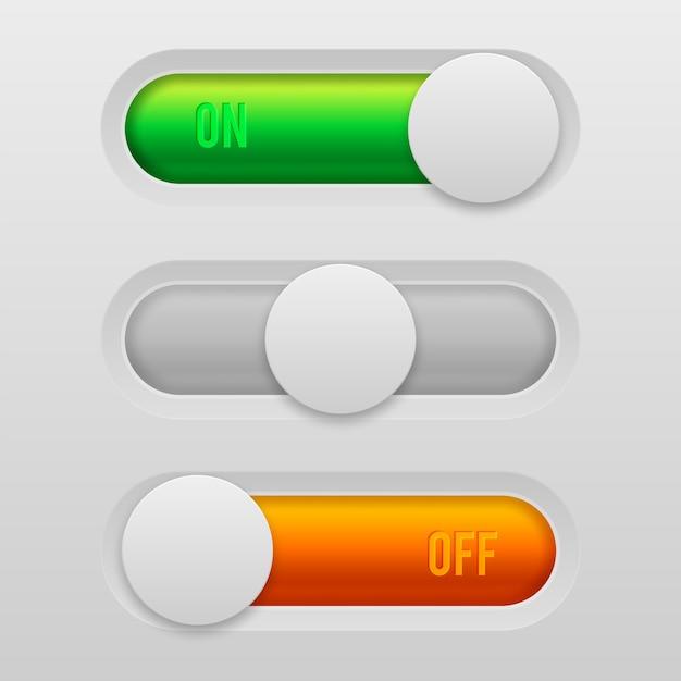 オンとオフのトグルスイッチボタン Premiumベクター