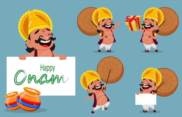 Onam celebration. king mahabali Premium Vector