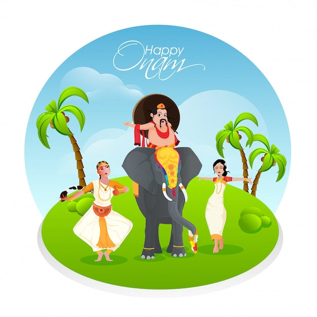 Onam festival celebration background. Premium Vector