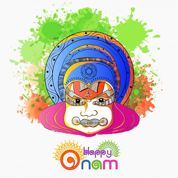 Onam festival celebration background. Premium Vector