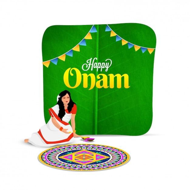 Onam festival celebration concept. Premium Vector
