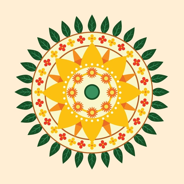 Onam floral decoration concept Free Vector