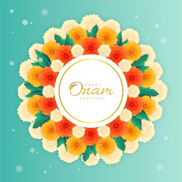 Decorazione floreale onam Vettore gratuito