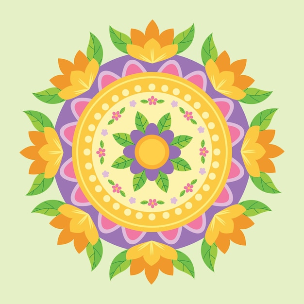 Onam floral decoration Free Vector