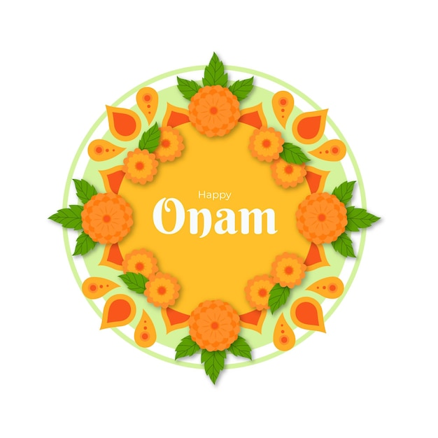 Onam floral decoration Free Vector