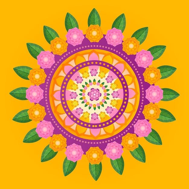 Onam flower decoration Free Vector