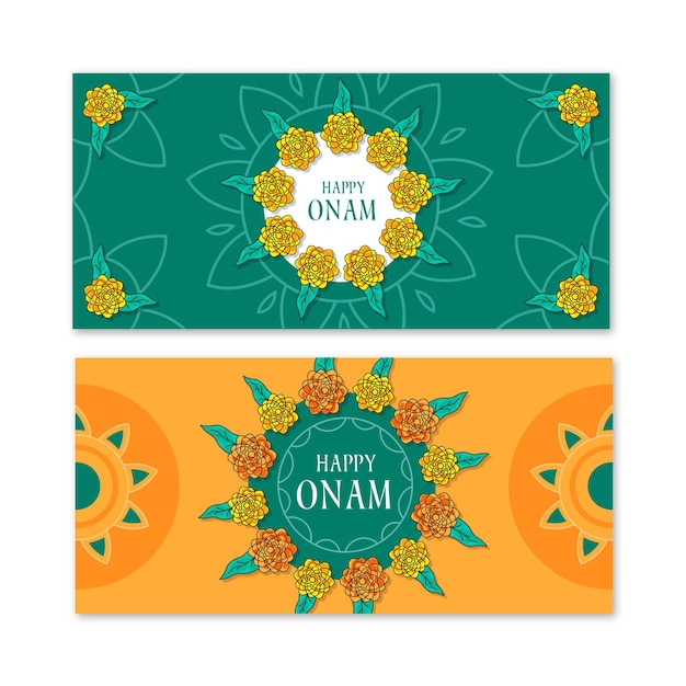 Onam horizontal banners collection Free Vector