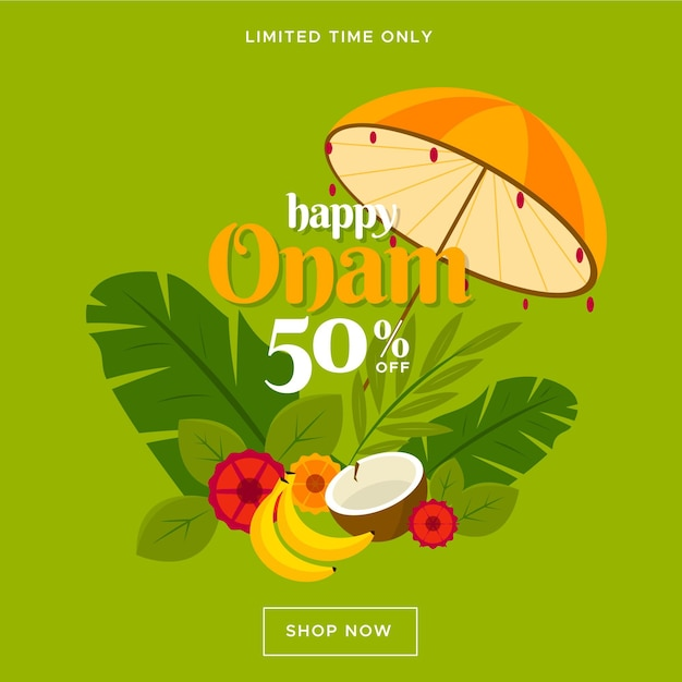 Onam sales banner Free Vector