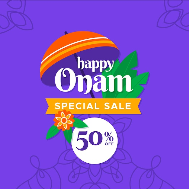 Onam sales squared banner Free Vector