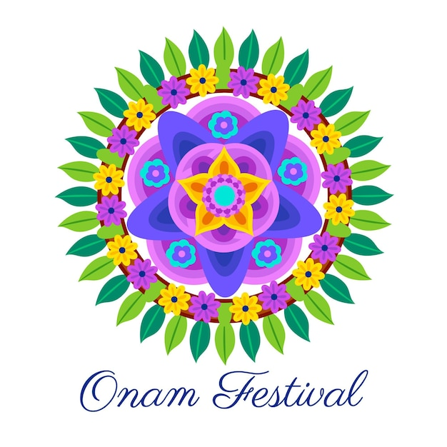 Onam traditional floral decor illustration Free Vector
