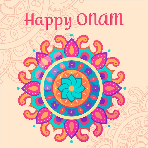 Onam traditional floral decoration Free Vector