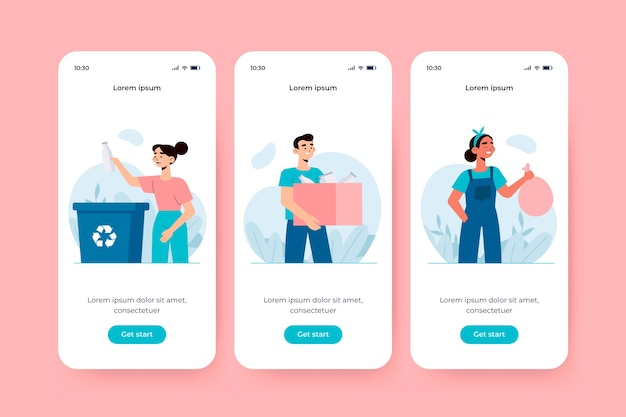 Onboarding app screen for recycle Free Vector